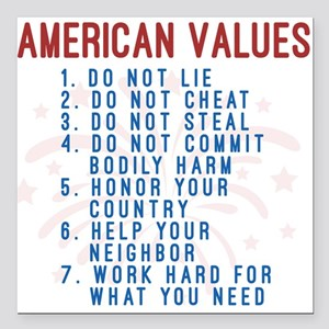 "American Values Square Car Magnet 3"" x 3"""